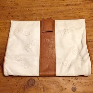 RARE FENDI Authentic large clutch/case white/brown